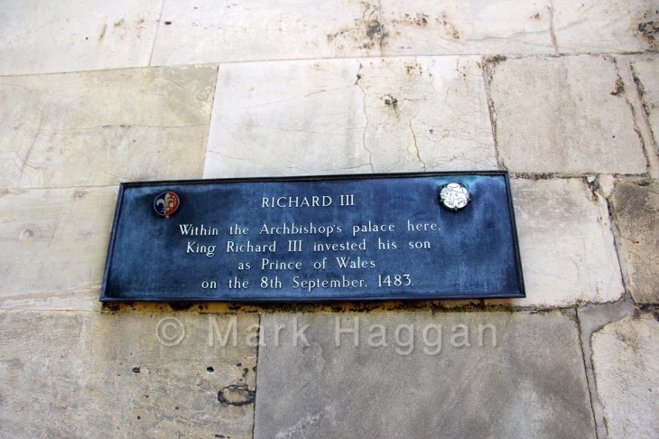 A plaque at York Minster