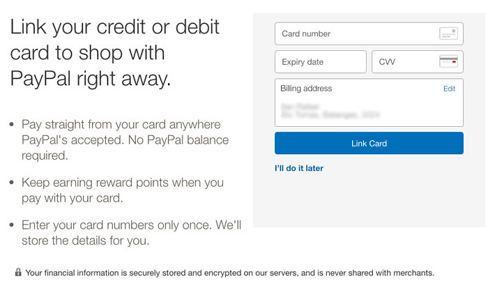 Open PayPal account in the Philippines - Add Debit Card