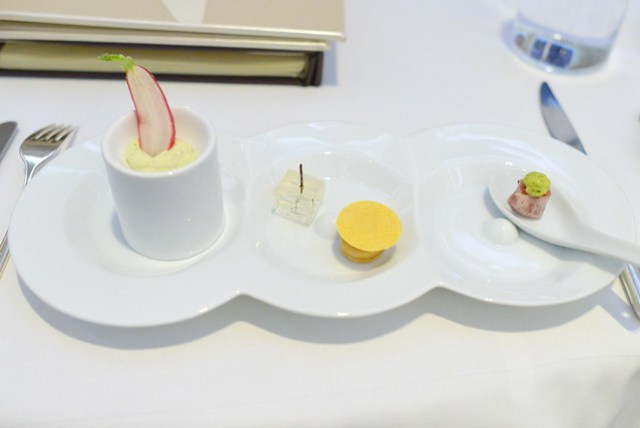 french radish; goat cheese tart with gin martini gelee; american wagyu tartare with mustard