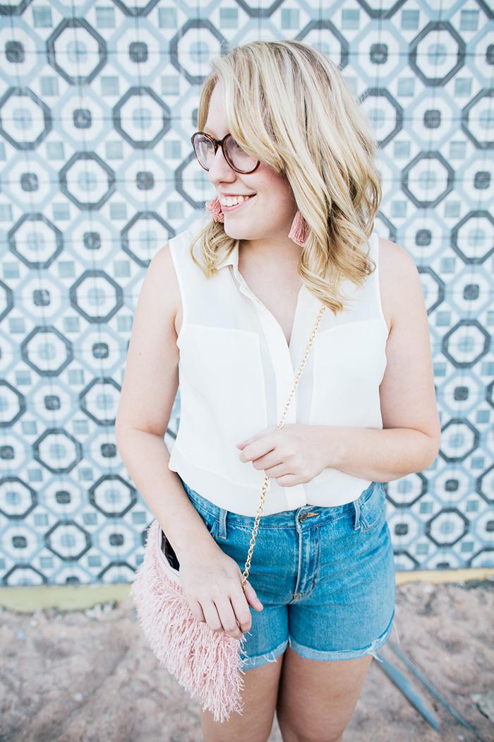 theory blouse denim shorts7