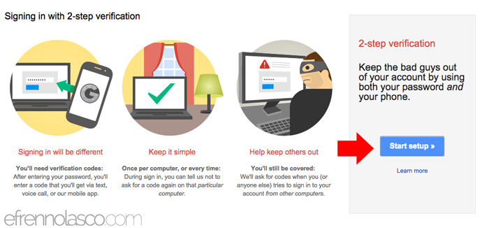 how to add security to google account step 2