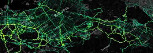Santa Clara Valley cycling heatmap from Strava