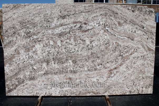 White Torroncino granite slab