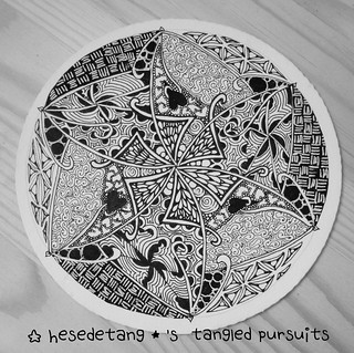 Zentangles - New tangle Cabbit and Diva Challenge Wk 222 (5/6)
