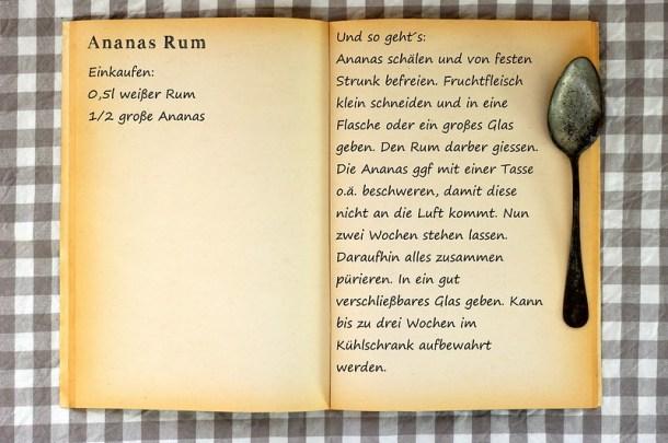 Einkaufszettel Ananas Rum by Glasgeflüster
