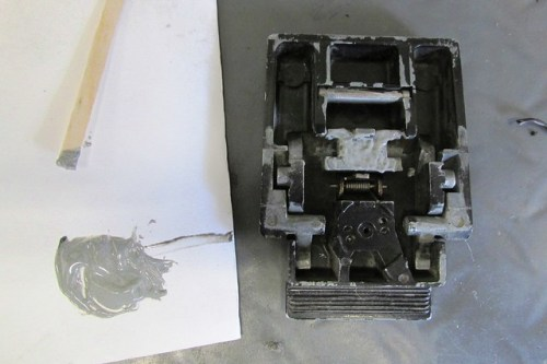 JB Weld Applied to Lock Mechanism Hinge Plate
