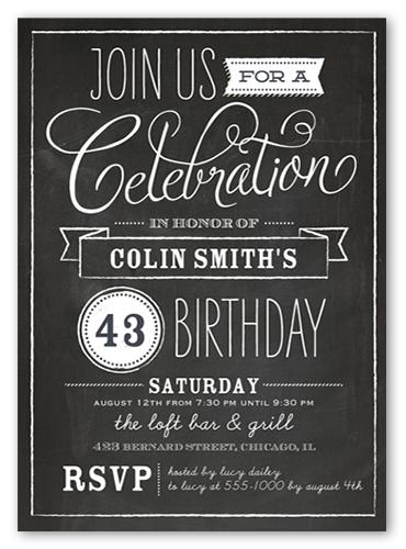 chalkboard wishes surprise birthday invitation shutterfly