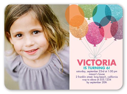 glitter balloons teen girls party invitations shutterfly