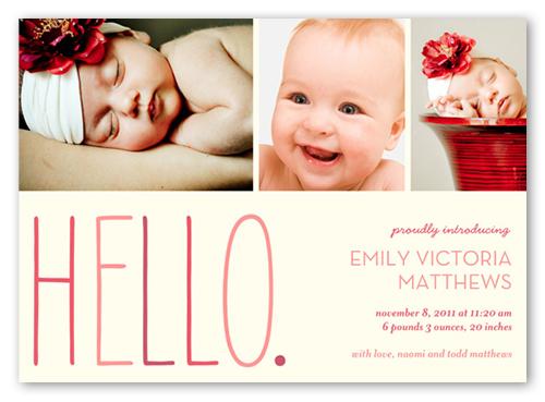 Hello Baby Girl Birth Announcement 5x7 Birth Announcements
