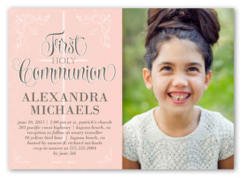 Decorative Borders Girl 5x7 Invitation First Communion