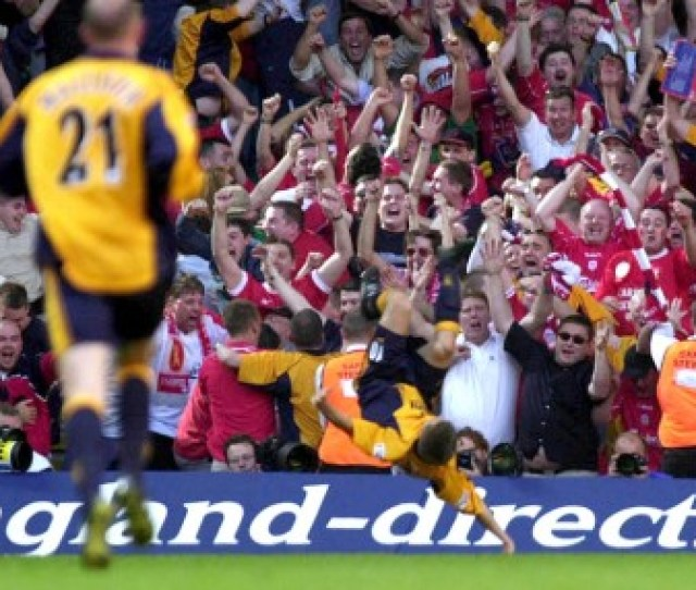 Michael Owen Celebrates In Front Of The Liverpool Fans After Scoring The Winning Goal Against Arsenal