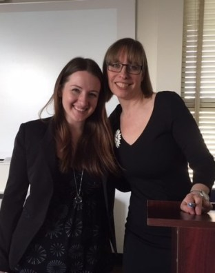 Graduate Student Alli Clymer with Professor Ghislaine McDayter after her talk.
