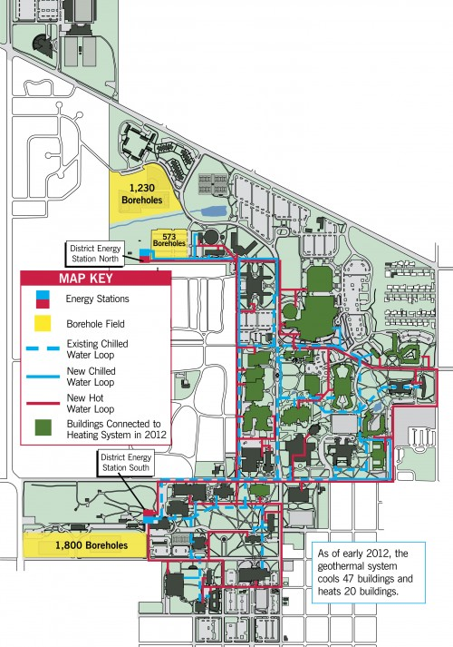 Ball State University geothermal campus map