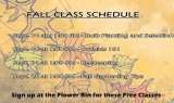 Flower Bin's Fall Class Schedule