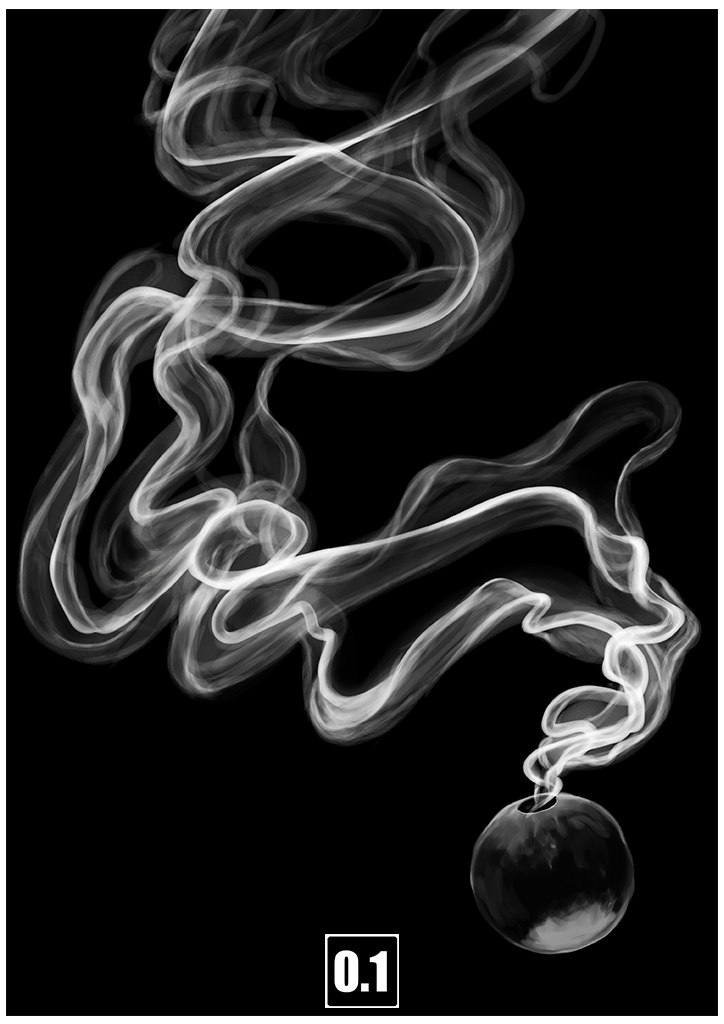 帯の様に漂う煙の描き方