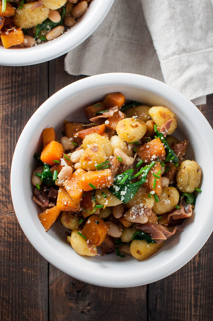 5-ingredient squash and greens gnocchi skillet