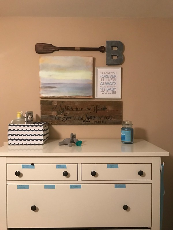 natural nautical Nursery gallery wall