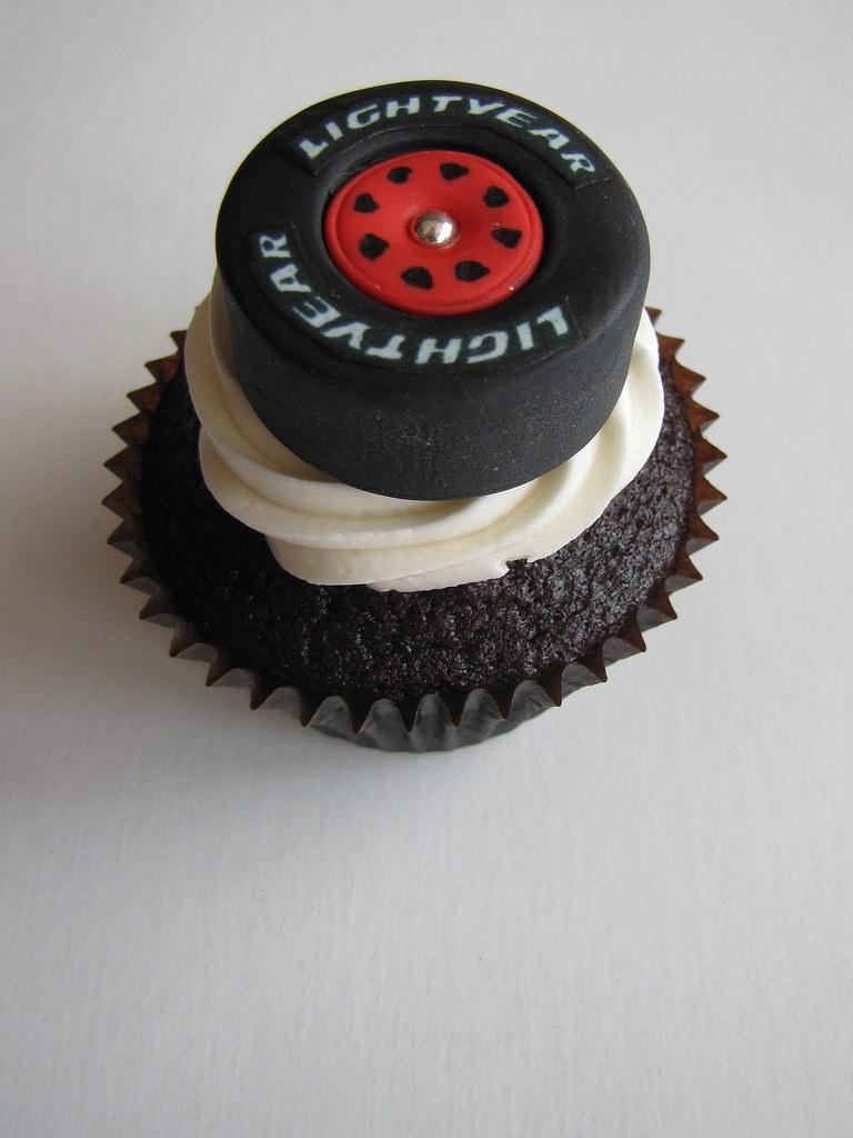 Race Car Tire Cupcake Chocolate Cupcake Filled With