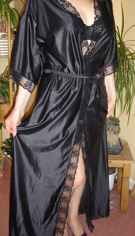 Modeling One Of My Black Satin Olga Dressing GownRobe
