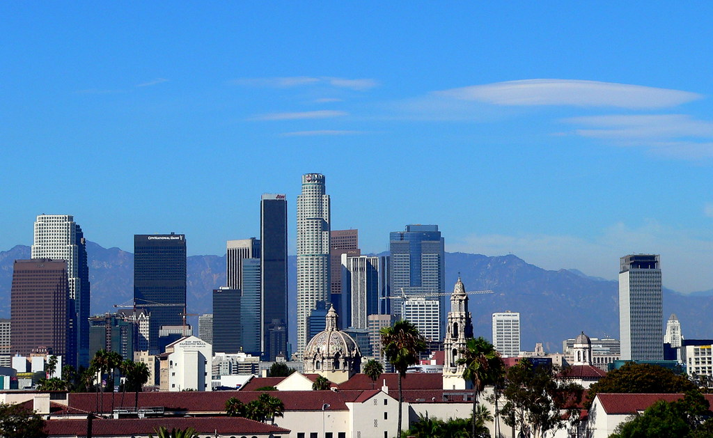 Old Icons In The Los Angeles Downtown Skyline L R In