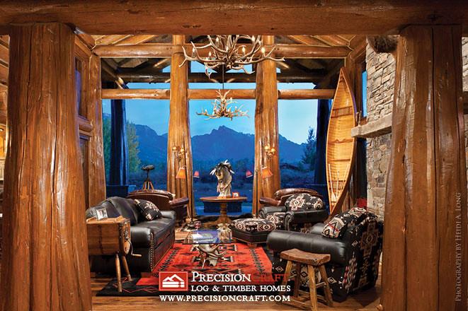 Handcrafted Log Home Great Room Wwwprecisioncraftcom