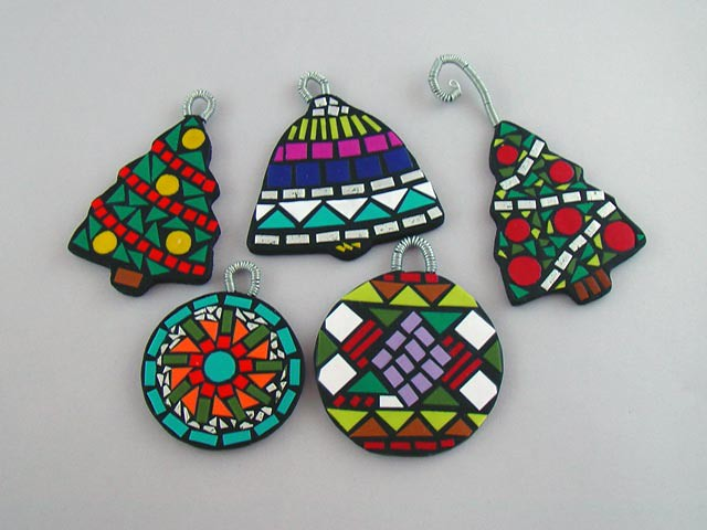 Xmas Ornaments Polymer Clay Mosaic Technique These