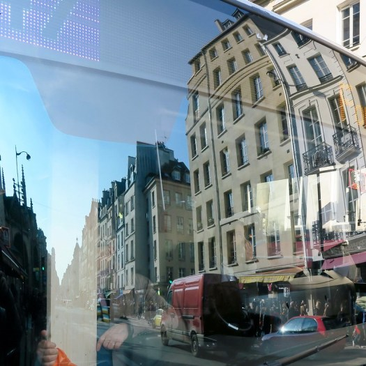 Reflection on the front of a bus