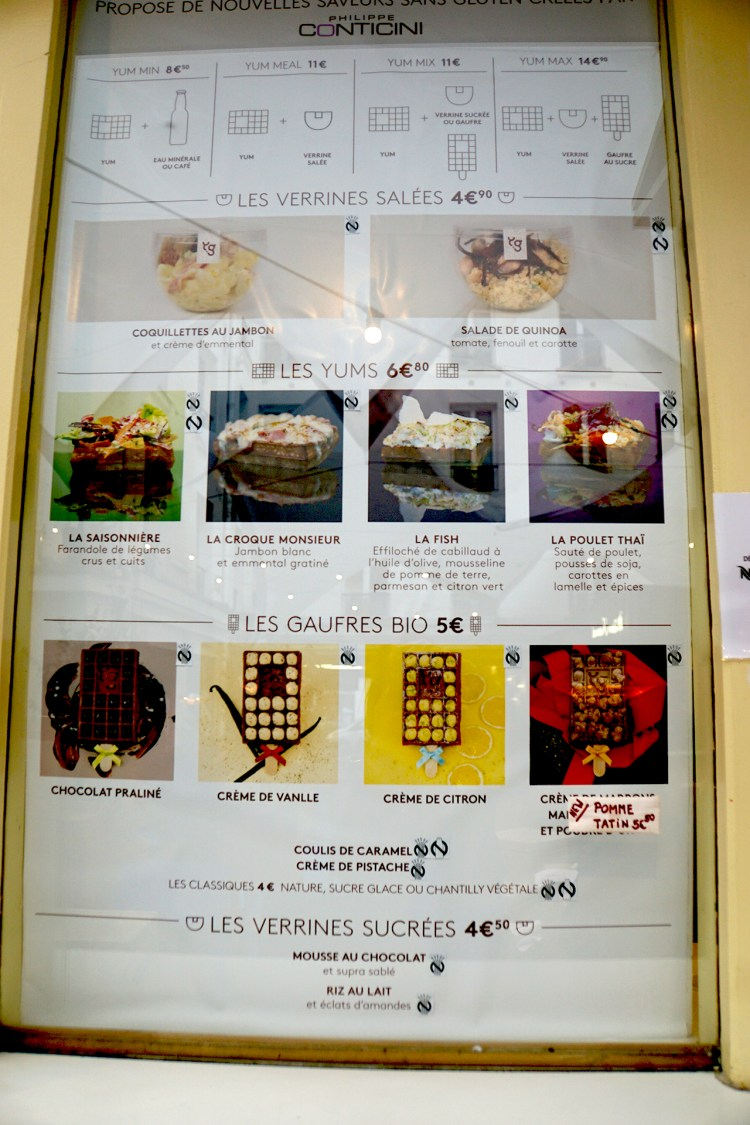 Yummy and Guilt Free menu - gluten free waffles paris