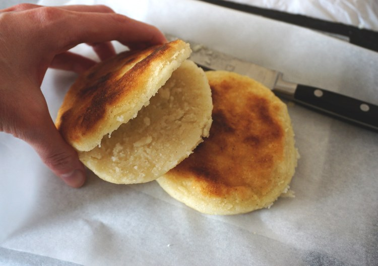 gluten free arepas made with pre-cooked white cornmeal P.A.N.