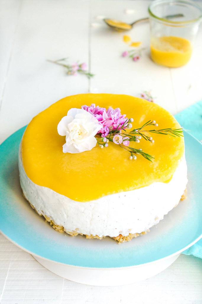 Cheesecake léger au coulis de mangue