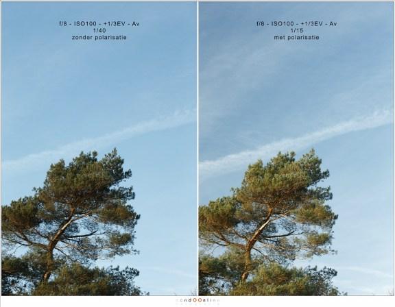 Een duidelijk voorbeeld van het terugdringen van het dynamisch bereik door een polarisatiefilter.  De zon staat op ± 90°. Het lichtverlies van het polarisatiefilter is ook direct duidelijk met de sluitertijd: iets meer dan 1 stop (Haida PRO II C-pol)