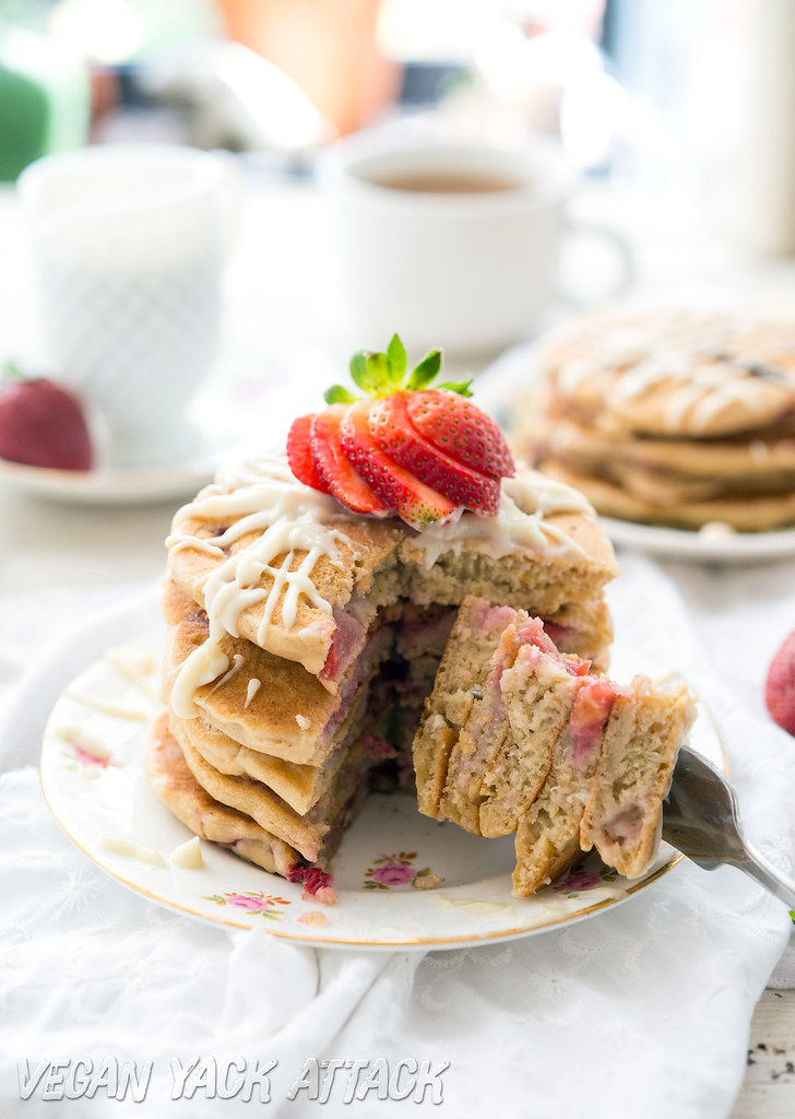 Fluffy Vegan Strawberry White Chocolate Pancakes- Easy, Kid-friendly and SO tasty! #vegan