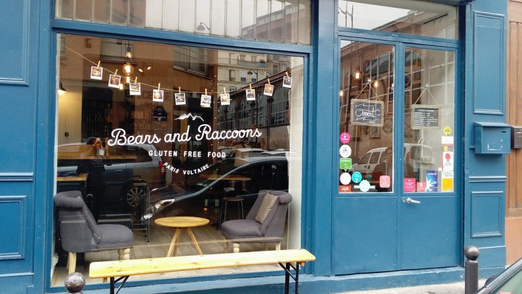 Bears and Raccoons shop front - gluten free restaurant in Paris, France