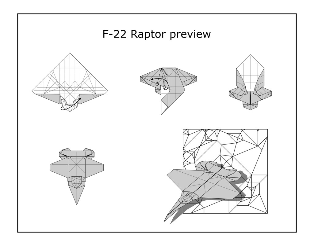 Origami F 22 Raptor Diagram