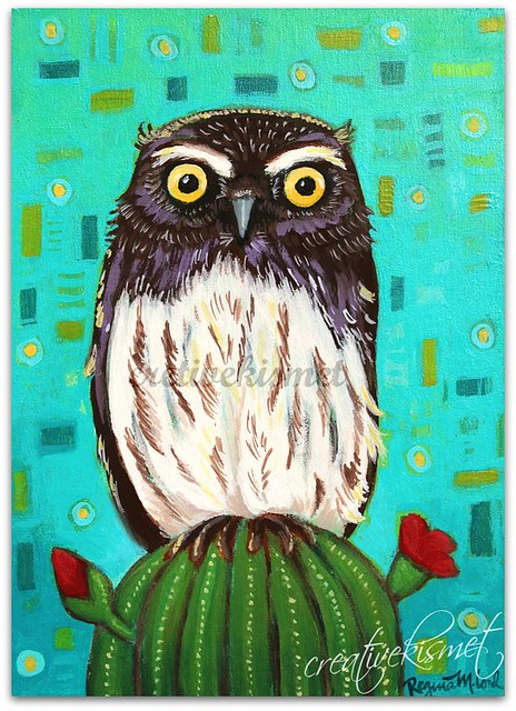 Elf Owl, Art by Regina Lord