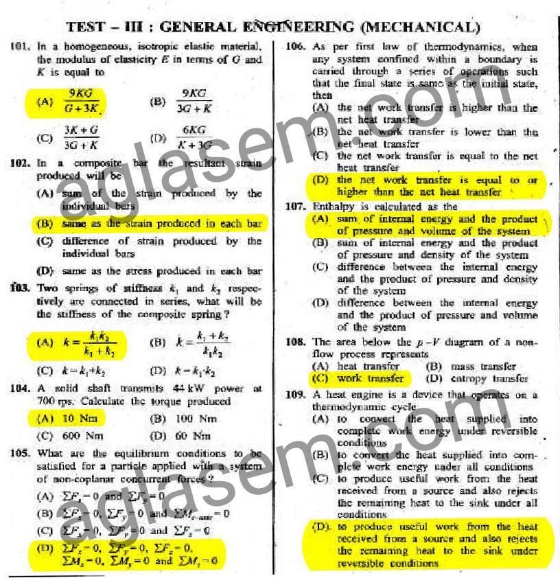 SSC JE 2015 Answer Key of 31 January 2016 Exam Mechanical Engineering