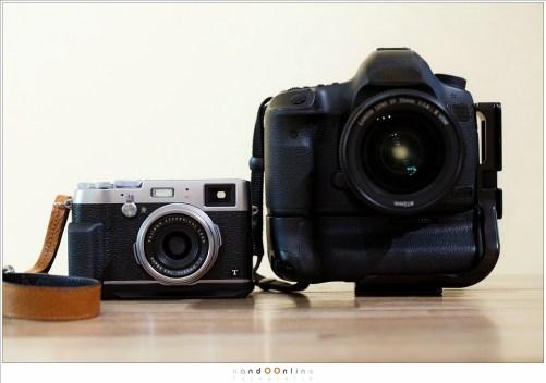 Een Fuji X100t in vergelijking met de EOS 5D mark 3 met grip en EF 35mm f/1,4L II