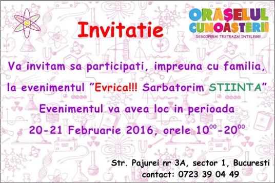 Invitaţie Orăşelul Cunoaşterii