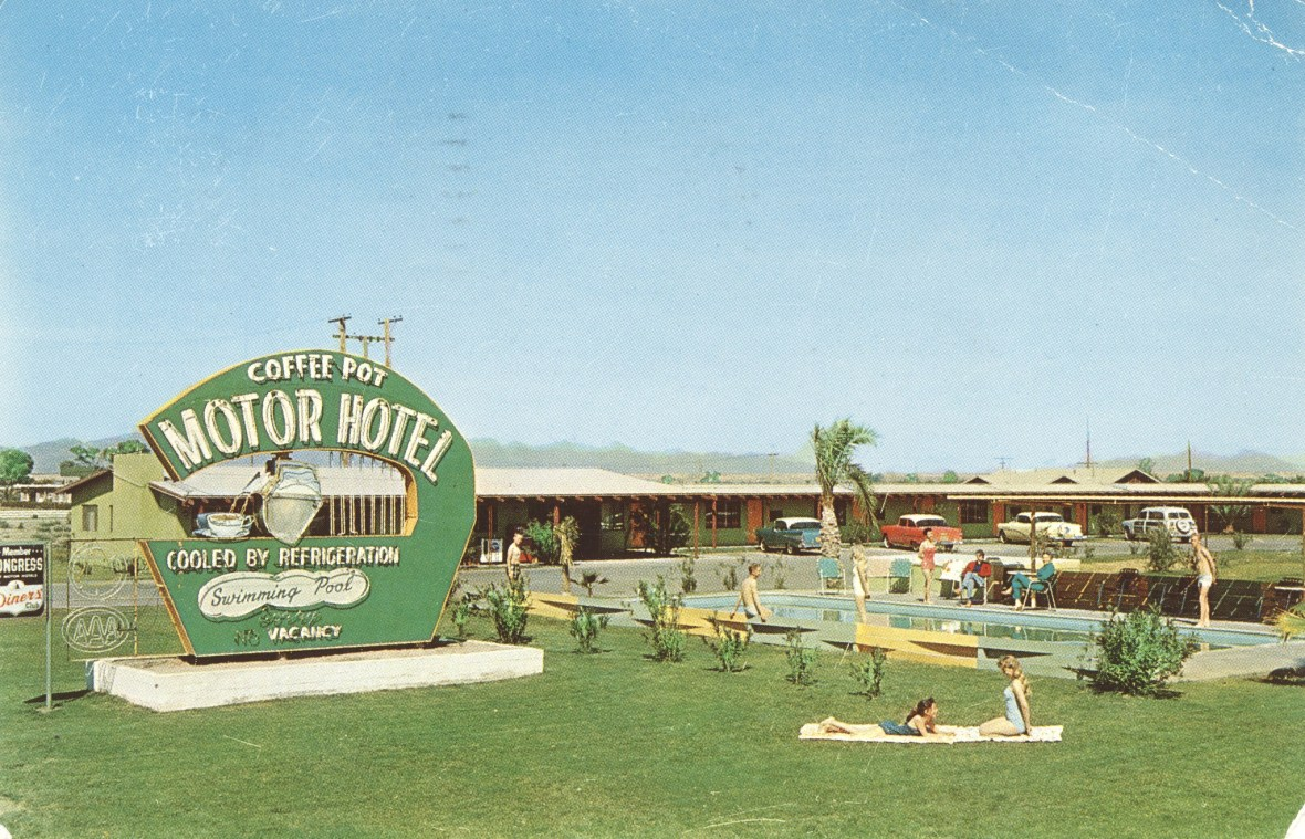 Coffee Pot Motor Hotel - 2421 West Hobsonway, Blythe, California U.S.A. - postmarked 1961, likely ca. 1950s)