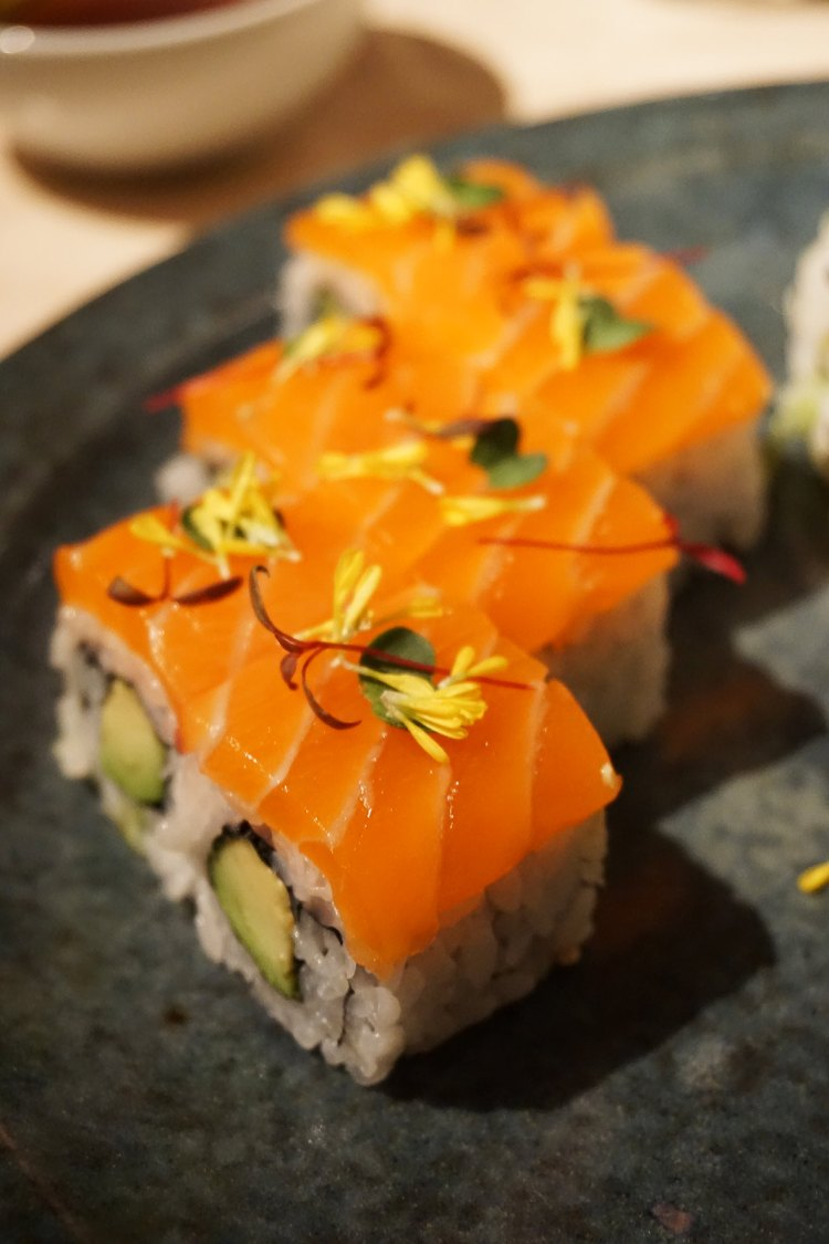 Salmon and avocado sushi from Sake no Hana in Mayair, London | eating gluten free in London