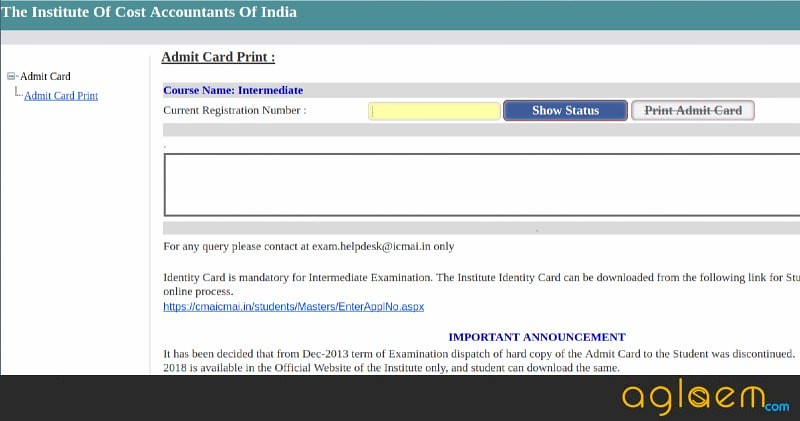 ICFAI 2018 Admit Card