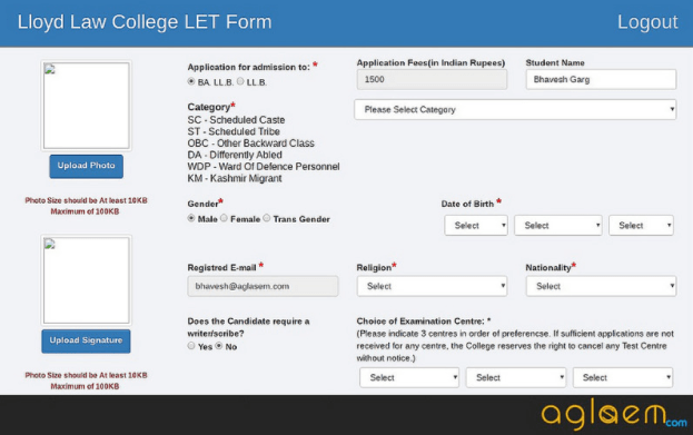 Lloyd Entrance Test (LET) 2019 Application Form