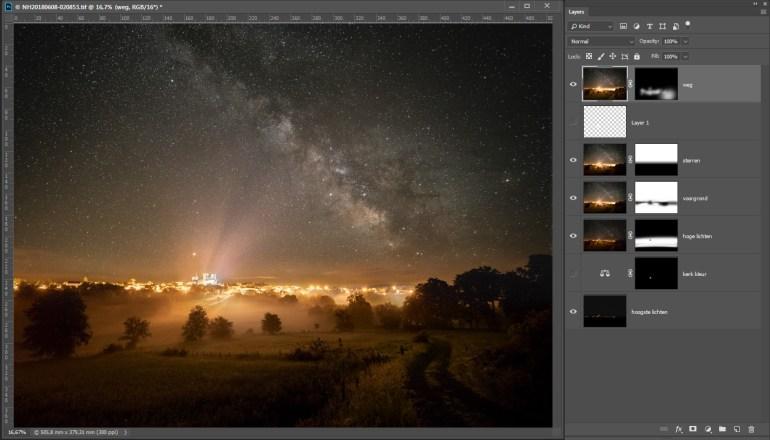 De tweede ISO3200 foto wordt gebruikt om de voorgrond en enkele lichte delen van de foto te optimaliseren. Hieronder valt ook het beter zichtbaar maken van de weg in de voorgrond.