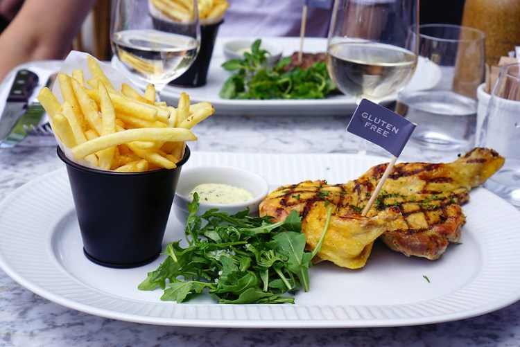 Gluten free half chargrilled Breton chicken with fries, garlic butter and salad from Cote Brasserie | Gluten free Notting Hill guide | Kensington | Bayswater | Ladbroke Grove | Portobello Market | West London | Gluten free London restaurants