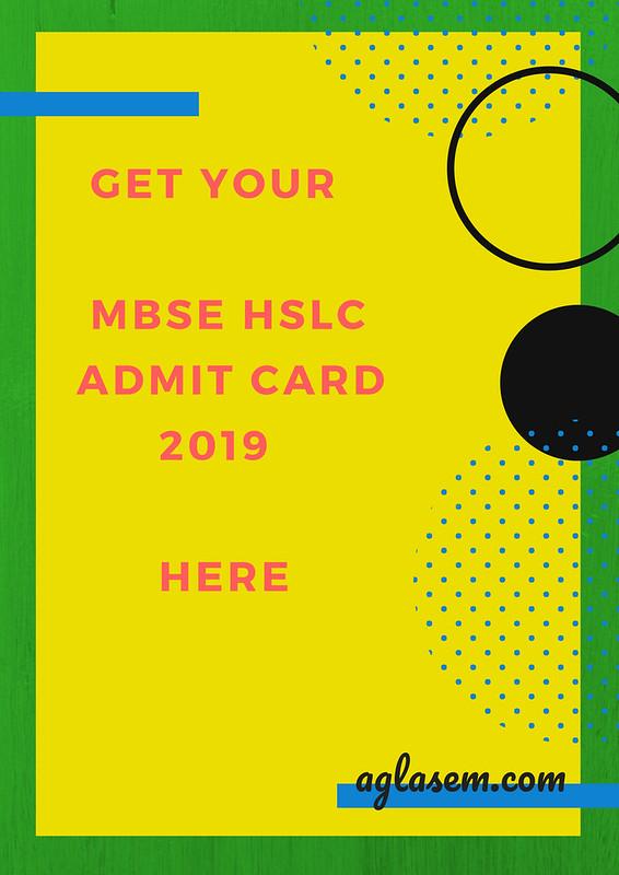 MBSE HSLC Admit Card 2019