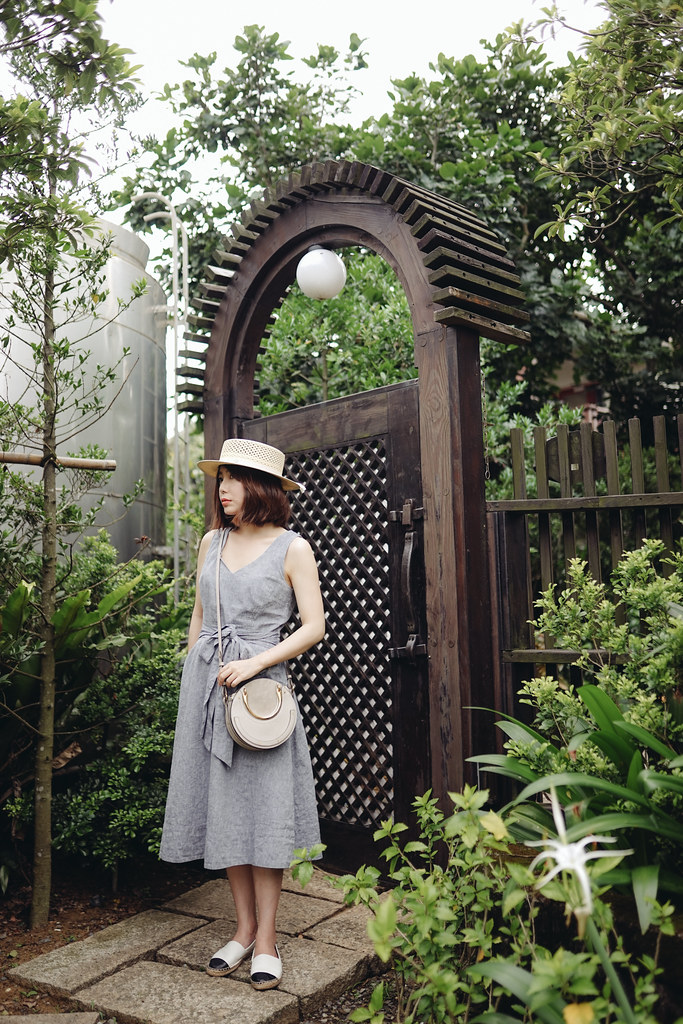 ▌Outfit ▌ 度假模式啟動(我是說肥倫):Maison Michel Kiki草帽 + Boden洋裝 + Chloe Pixie + Tory Burch草編鞋