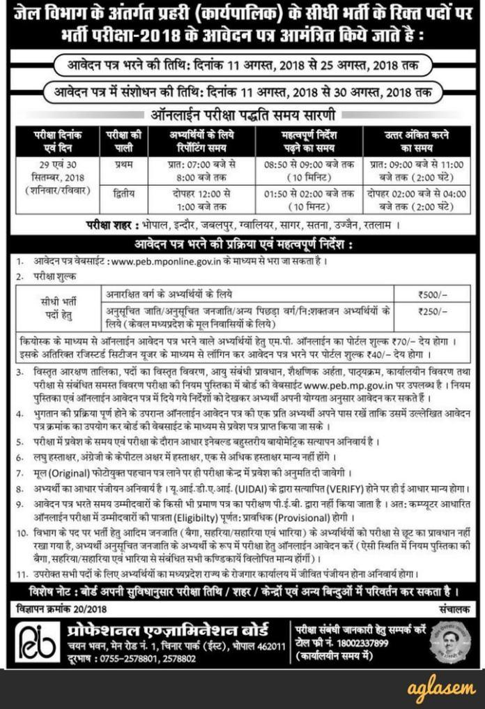 MP Jail Prahari Recruitment Notification 2018