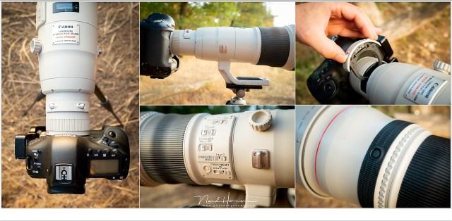 Een overview van de EF800mm f/5,6L IS USM met alle knoppen, schakelaars, draadriembevestigingen, statiefgondel en de filterhouder.