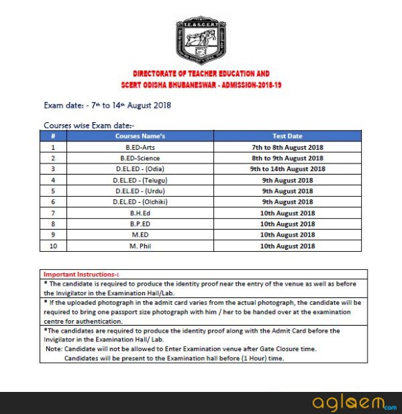 SCERT Odisha B.Ed Exam Schedule 2018