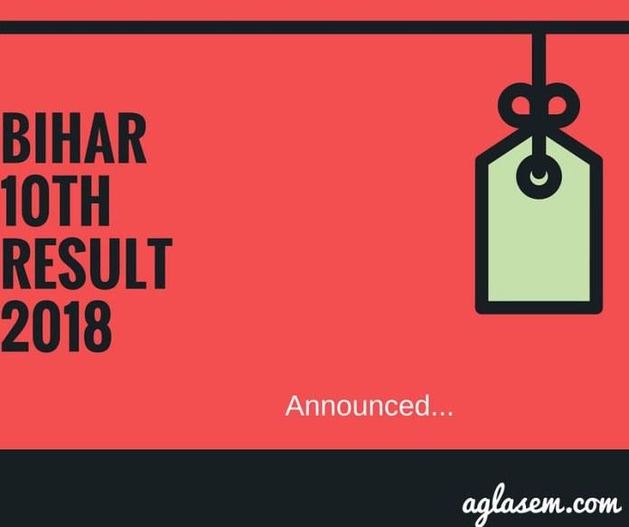 Bihar Class 10th Result 2018 Announced